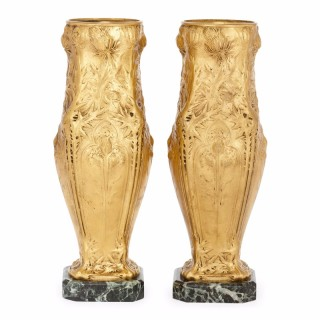 Pair of French Art Nouveau Gilt Bronze Vases, by F. Barbedienne