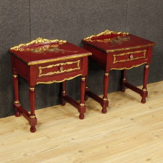 20th Century Pair Of Spanish Lacquered And Gilt Bedside Tables