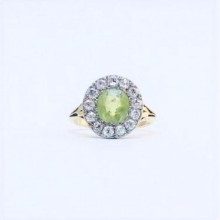 ART DECO PERIDOT AND DIAMOND CLUSTER RING