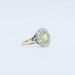 ART DECO PERIDOT AND DIAMOND CLUSTER RING