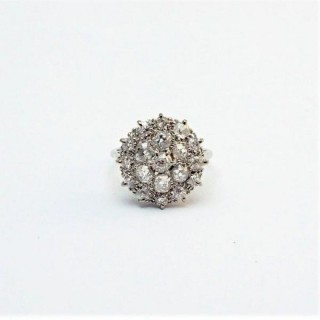 Art Deco Diamond Platinum Cluster Ring