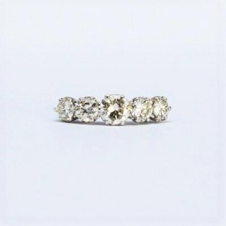 1960's White Gold Five Stone Diamond Ring