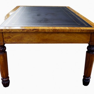 Antique William 1V Satinwood Partners Library Table Writers Desk