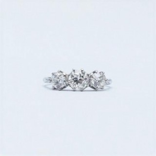 Three Stone Art Deco White Gold Diamond Ring