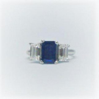 Contemporary Sapphire and Diamond Three Stone Ring.