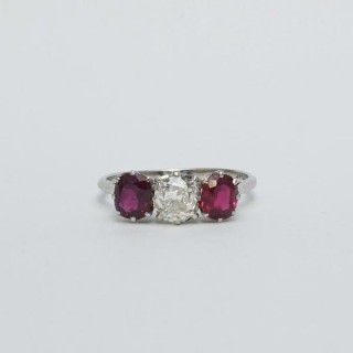 Art Deco Diamond and Ruby Three Stone Ring