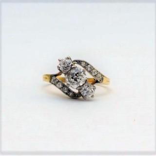 Three Stone Art Deco Diamond Cross Over Ring