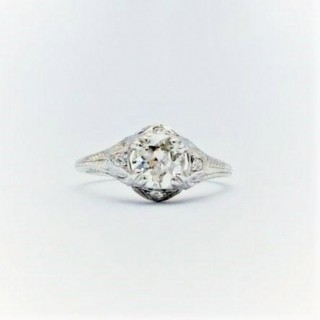 Art Deco Diamond Solitaire Engagement Decorative Band Ring