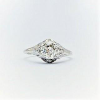 Art Deco Diamond Solitaire Engagement Decorative Band Ring