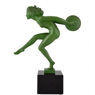 Art Deco sculpture of a nude dancer with cymbals