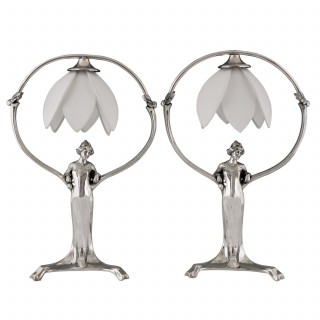 Pair of silvered Art Nouveau lamps with ladies