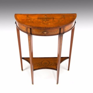 A Fine Marquetry Satinwood Demi Lune Console Table by  Hampton & Sons of Pall Mall London.