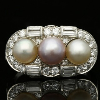 Natural pearl cluster ring, circa 1935.