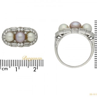 Natural pearl cluster ring, circa 1935.