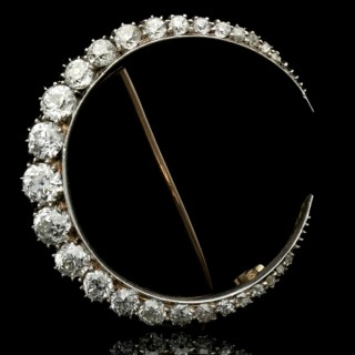 Antique diamond crescent brooch, English, circa 1880.
