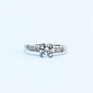 Platinum Square Set Diamond Solitaire Engagement Ring