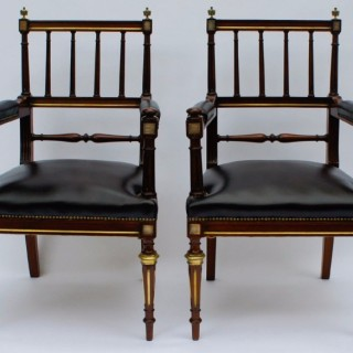 Antique Pair French Empire Open Armchairs or Desk Chairs