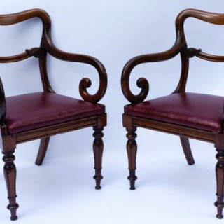 Pair Antique Mahogany Armchairs or Desk Chairs