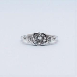 1930's Art Deco 1.10 Carat Diamond Solitaire Engagement Ring