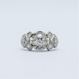 Art Deco 1.25 Carat Diamond Solitaire Engagement Ring