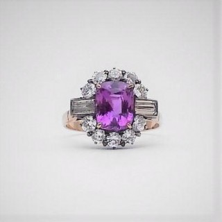 Pink Sapphire and Diamond Cluster Ring.