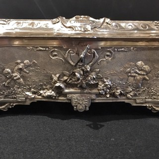 An English silver-plate casket by Walker & Hall