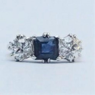 Art Deco Sapphire and Diamond Platinum Three Stone Ring.
