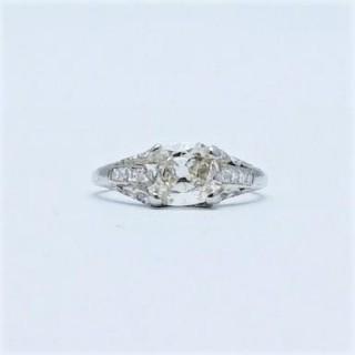 Art Deco Diamond Solitaire Engagement Ring 1.35 Carat