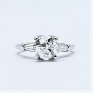 Art Deco Diamond Solitaire Engagement Ring 1.65 Carat.