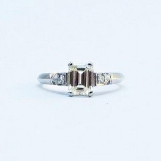 Art Deco Diamond Solitaire Engagement Ring 1 Carat