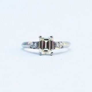 Art Deco Diamond Solitaire Engagement Ring 1 Carat