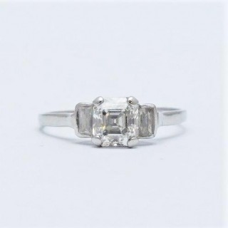 1 Carat Asscher Cut Diamond Solitaire 1930's Engagement Ring
