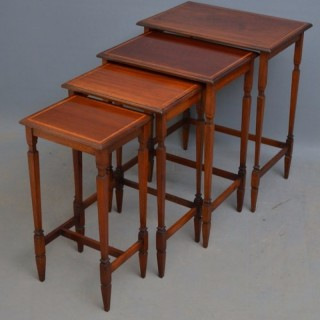 Edwardian Mahogany Nest of 4 Tables of Low Design