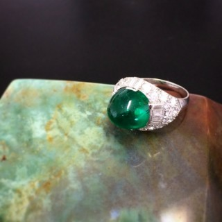 Art Deco Old-Mine Colombian Emerald Cabochon and Diamond Platinum Ring