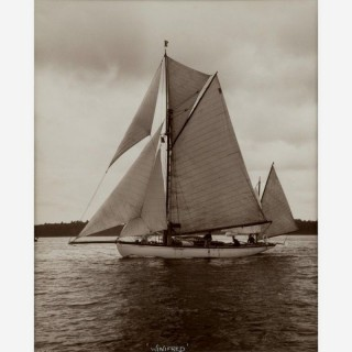 Yacht Winifred, Yawl, early silver photographic print by Beken of Cowes.