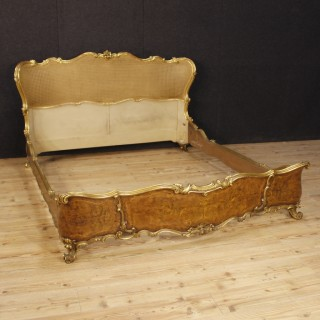 20th Century Bed In Gilt And Inlaid Wood