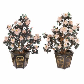 Pair of Chinese Hardstone Models of Flowers