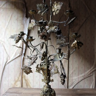 A Beautiful Large Late 19thC Naturalistic Gilt Metal Eight Sconce Candelabra c.1890