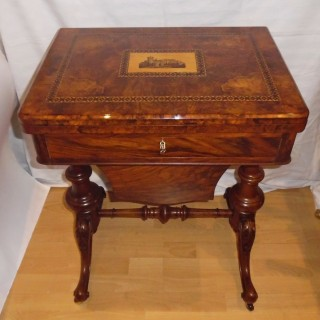 A Victorian burr walnut and Tunbridge ware games table