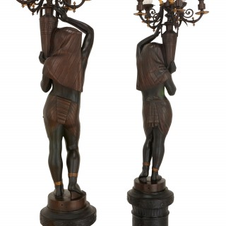 Egyptian Revival style pair of figural candelabra by Antoine Durenne