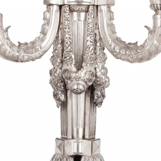 Pair of Antique Three Light Silver Plated Candelabra in Regence Style