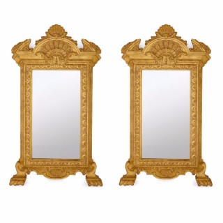 Pair of Antique Empire Style Giltwood Mirrors