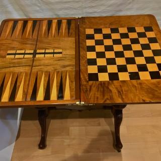 A Victorian burr walnut and Tunbridge ware games table
