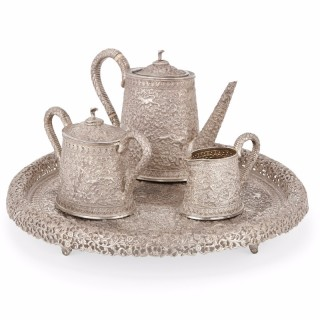 Indian 19th Century four piece silver tea set