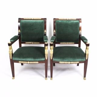Antique Pair Napoleon III Mahogany & Ormolu Armchairs C1850