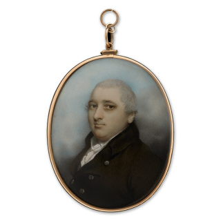 Portrait miniature of John Jackson (1758-1828), wearing brown coat with white shirt and cravat, c.1805