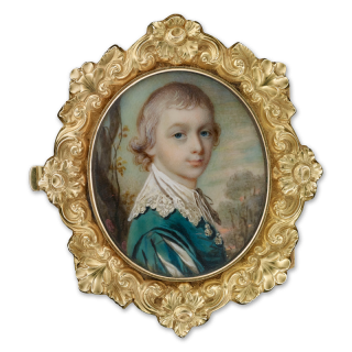 Portrait miniature of a Young Gentleman, possibly William Courtney, 9th Earl of Devon (c.1768-1835), half-turned, wearing a green robe and lace cravat, landscape in the background, c.1775