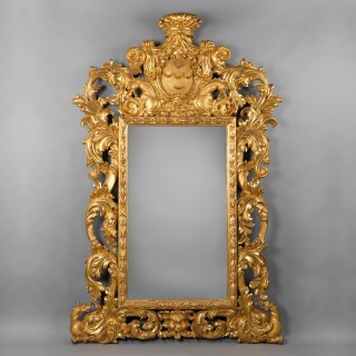 Impressive Baroque Style Carved Giltwood Mirror