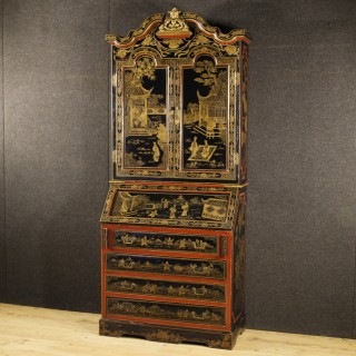 20th Century French Trumeau In Lacquered Chinoiserie Wood