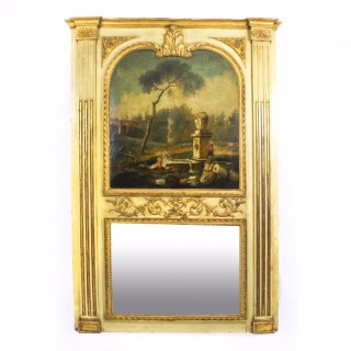 Antique French Painted & Parcel Gilt Trumeau Mirror 18th C